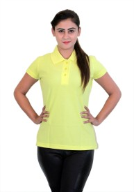 WASP Embroidered Women's Polo Neck Yellow T-Shirt