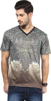 Yepme Printed Men's V-neck Brown T-Shirt