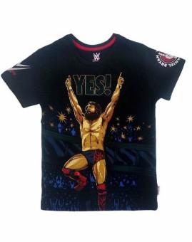 WWE Printed Boy's Round Neck Black T-Shirt