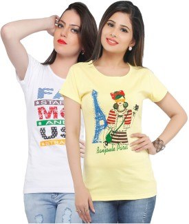Jazzup Printed Women's Round Neck Yellow, White T-Shirt Pack Of 2