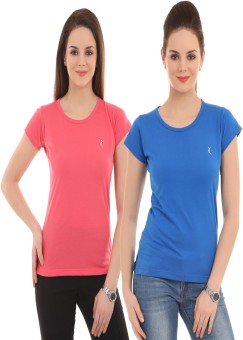 Ultrafit Solid Women's Round Neck Blue, Pink T-Shirt Pack Of 2