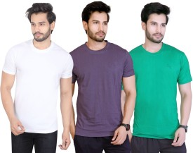 LUCfashion Solid Men's Round Neck White, Grey, Green T-Shirt Pack Of 3