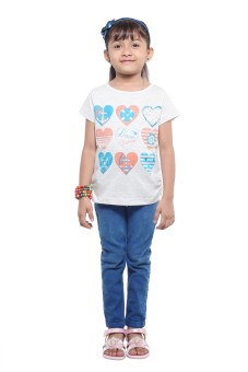 Stop To Start Printed Girl's Round Neck T-Shirt