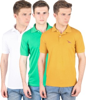 PRO Lapes Solid Men's Polo Neck White, Yellow, Green T-Shirt Pack Of 3