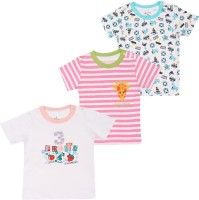 Ohms Printed Baby Boy's Round Neck White, Pink T-Shirt (Pack Of 3)