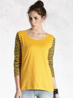 Roadster Solid Women's Round Neck Yellow T-Shirt