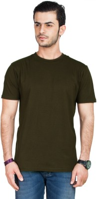 Zovi Zovi Solid Men's Round Neck T-Shirt (Brown)