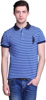 United Rugby Polo Striped Men's Polo Neck Blue T-Shirt