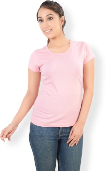 Neevov Pink Solid Women's Round Neck T-Shirt