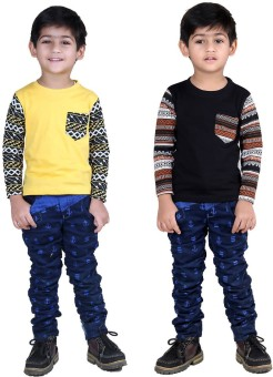Illicit Nation Solid Boy's Round Neck Yellow, Black T-Shirt Pack Of 2