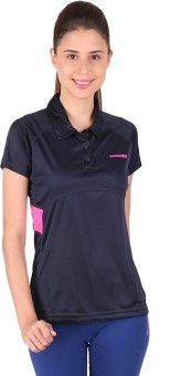 Vector X Solid Women's Polo Neck Blue, Pink T-Shirt