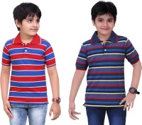 Dongli Striped Baby Boy's Polo Neck Red, Blue T-Shirt (Pack Of 2)