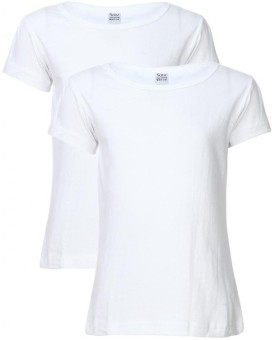 Gkidz Solid Girl's Round Neck T-Shirt (Pack Of 2)