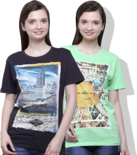 Go India Store Printed Women's Round Neck Grey, Light Green T-Shirt Pack Of 2