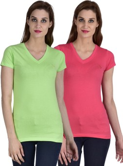 Youthen Solid Women's V-neck Green, Pink T-Shirt Pack Of 2