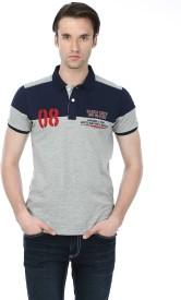 Basics Solid Men's Polo Neck Grey T-Shirt