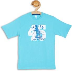 612 League Graphic Print Boy's Round Neck Light Blue T-Shirt