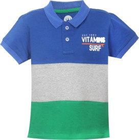 VITAMINS Graphic Print Baby Boy's Polo Neck Dark Blue T-Shirt