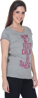 Fast N Fashion Printed Women's Boat Neck Grey T-Shirt
