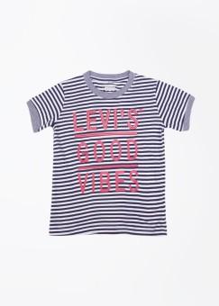 Levi's Striped Boy's Round Neck White, Dark Blue T-Shirt