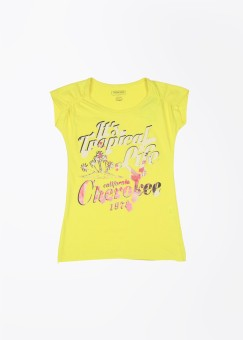Cherokee Printed Girl's Round Neck Yellow T-Shirt