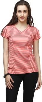 Cherymoya Striped Women's V-neck Pink T-Shirt