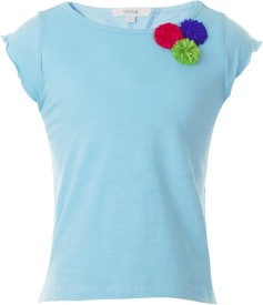 Sera Solid Girl's Round Neck Light Blue T-Shirt