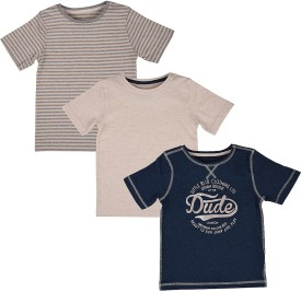 Mothercare Striped Boy's Round Neck Beige, Blue T-Shirt Pack Of 3