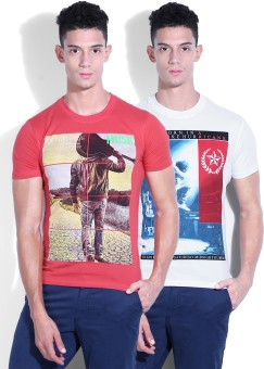 Fort Collins Printed Men's Round Neck White, Pink T-Shirt Pack Of 2