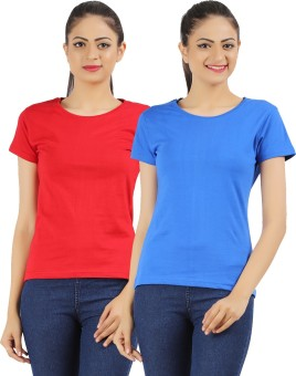 Ap'pulse Solid Women's Round Neck Red, Blue T-Shirt Pack Of 2