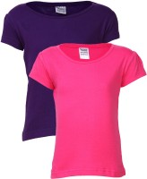 Gkidz Solid Girl's Round Neck T-Shirt - Pack Of 2