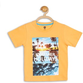 612 League Graphic Print Boy's Round Neck Orange T-Shirt