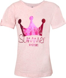 Vitamins Graphic Print Girl's Round Neck Pink T-Shirt