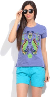 STYLE QUOTIENT BY NOI Printed Women's Round Neck Blue T-Shirt - TSHEGS6F7MUFFG7D