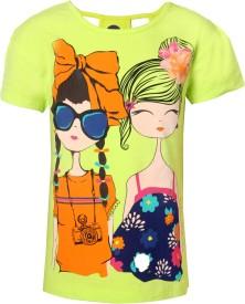 Vitamins Graphic Print Girl's Round Neck Yellow T-Shirt