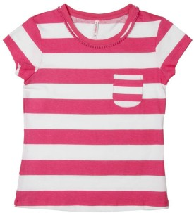 Poppers By Pantaloons Striped Girl's Round Neck T-Shirt
