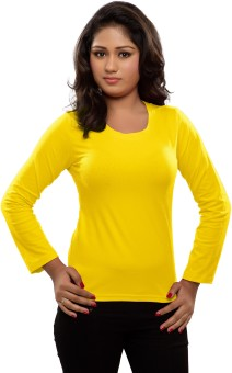 Hbhwear Solid Women's Round Neck Yellow T-Shirt