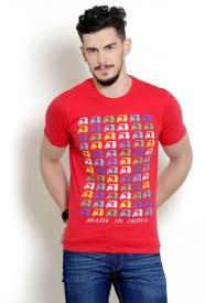 Yepme Graphic Print Men's Round Neck Red T-Shirt