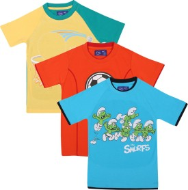 SPN Garments Printed Boy's Round Neck Blue, Orange, Yellow T-Shirt Pack Of 3