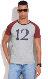 Pepe Printed Men's Round Neck Grey, Maroon T-Shirt