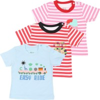 Ohms Printed Baby Boy's Round Neck Red, Pink, Blue T-Shirt (Pack Of 3)