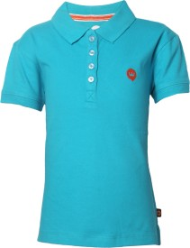 Vitamins Solid Girl's Polo Neck Light Blue T-Shirt