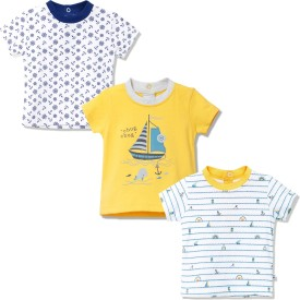 FS Mini Klub Printed Baby Boy's Round Neck Yellow T-Shirt Pack Of 3