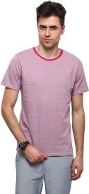 Yepme Striped Men's Round Neck Pink, Grey T-Shirt