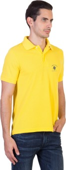 Green Wich United Polo Club Solid Men's Polo Neck Yellow T-Shirt