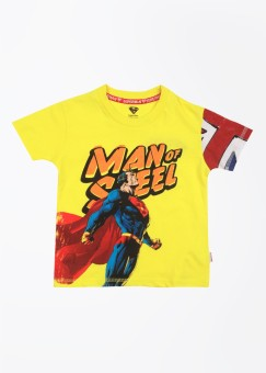 Superman Printed Boy's Round Neck Yellow T-shirt