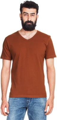 Zovi Zovi Solid Men's V-Neck T-Shirt (Brown)