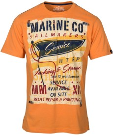 Huetrap Graphic Print Men's Round Neck Orange T-Shirt