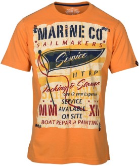Huetrap Marine Orange Graphic Print Men's Round Neck T-Shirt
