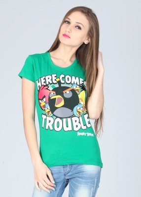 Angry Birds Printed Women's Round Neck T-Shirt